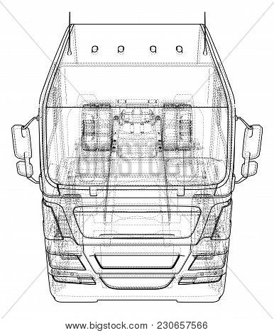 Dump Truck Vector Illustration. Isolated White. Created Illustration Of 3d. Wire-frame.