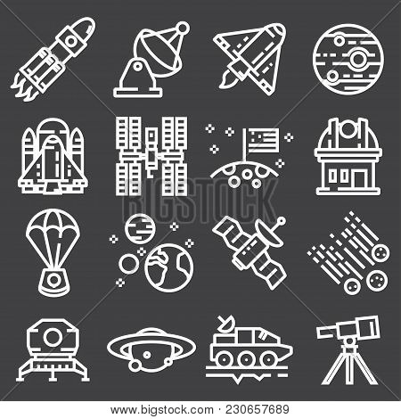 Vector Astronomy And Space Icons. Spaceman, Astronaut, Helmet, Solar System, Galaxy, Planet, Earth,