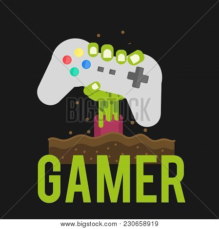 Gamer Zombies Hand Holding Joystick Background Vector Image