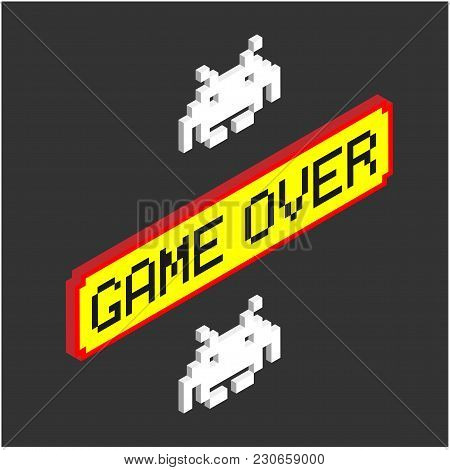 Game Over Yellow Background Red Frame Vector Image
