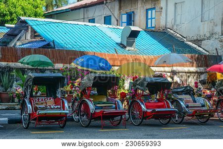 George Town, Malaysia - Mar 10, 2016. Rickshaw Tricycle At The Street Of The Old Town, George Town,