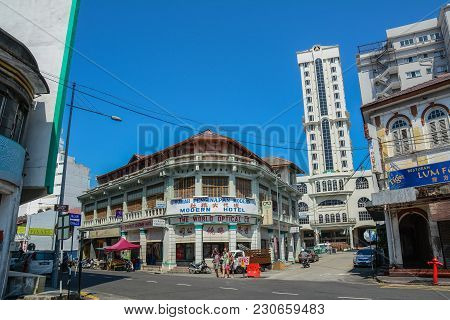 George Town, Malaysia - Mar 10, 2016. View Of George Town, Malaysia. George Town Is One Of The Most