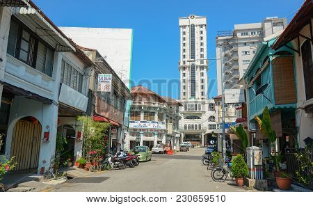 George Town, Malaysia - Mar 10, 2016. Street Of George Town, Malaysia. George Town Is One Of The Mos
