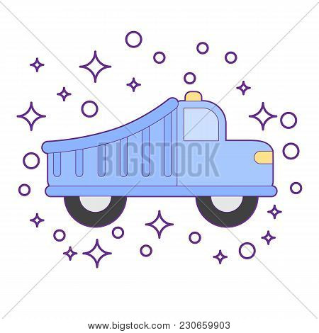 Retro Red Car Vintage Isolated. Side View. Vector Flat Style Illustration
