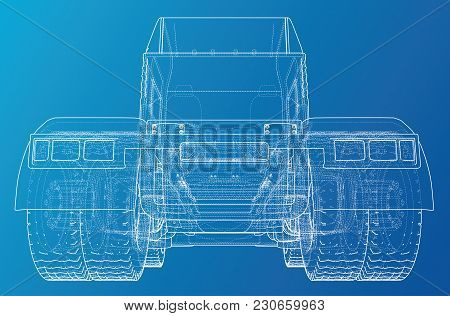 Back View Truck Isolated On Blue Background. Eurotrucks Delivering Vehicle Layout For Corporate Bran