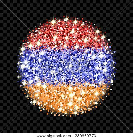 Republic Of Armenia Flag Sparkling Badge. Round Icon With Armenian National Colors With Glitter Effe