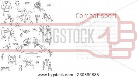 Martial Arts Line Icons Banner. Vector Sign For Web Graphics.