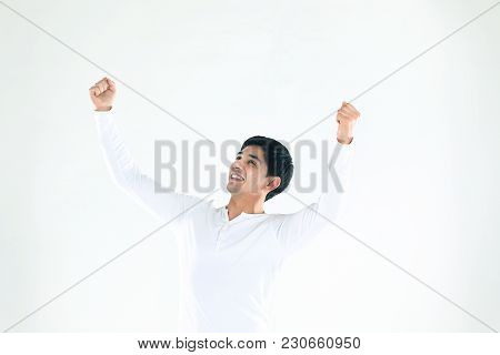 Concept Of Success In Business.businessman Making A Hand Gesture Up.the Photo Has A Blank Place For