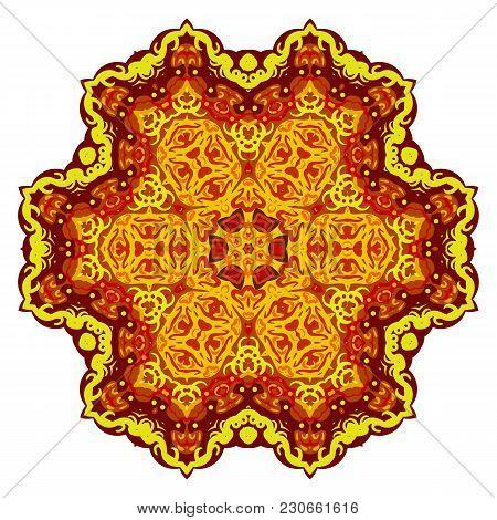 Abstract Gold Mandala. Yellow Mandala. Vector Isolated Illustration