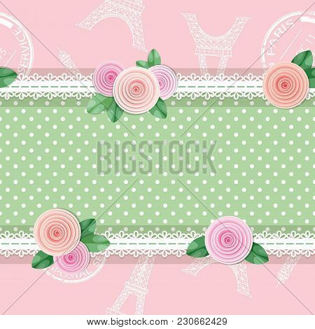 Shabby Chic Textile Seamless Pattern Background. Girly. Different Fabric Pieces Collage, Decorated W