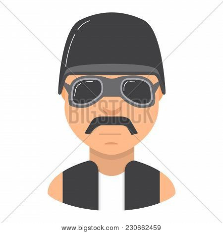 The Young Man With Moustaches. Biker Motorcycle Protective Old-style. Character Young Person. In Fla