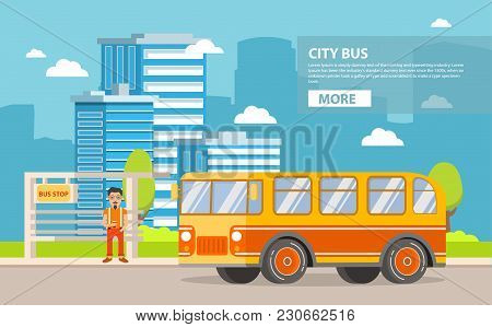 City Passenger Retro Vintage Bus.  A Concept Of Design Of An Icon For The Websites. In Flat Style A