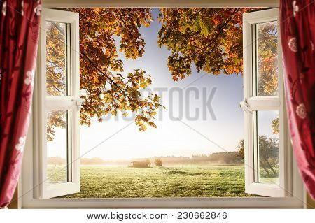 Open Window With Fresh Air And Countryside Scenery Views. Red Curtains Opened Show A Modern Window I