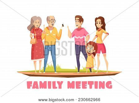 Happy Family Meeting Design Composition With Grandparents Young Couple And Little Girl  Cartoon Vect