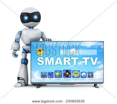 Robot And Modern Smart Tv. 3d Illustration