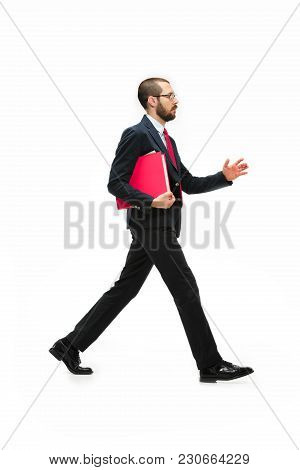 Full Body Or Full-length Portrait Of Businessman Going With Red Folder On White Studio Background. S