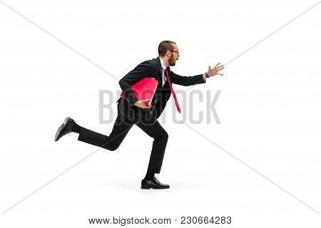 Businessman Running With A Folder Isolated On White Background. Full Body Or Full-length Portrait Of