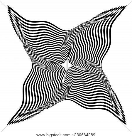 Abstract Black And White Striped Shape. Geometric Pattern With Visual Distortion Effect. Optical Ill