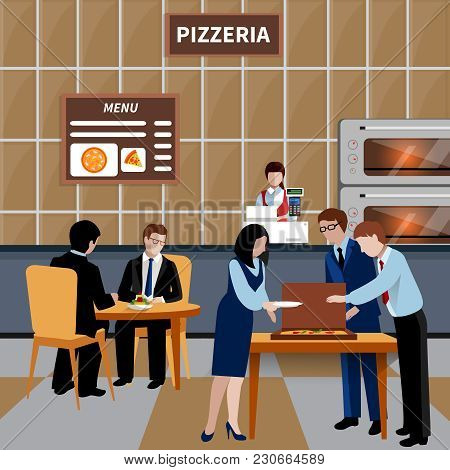 Flat Business Lunch People Composition With Workers And Colleagues Have Lunch In A Pizzeria Vector I