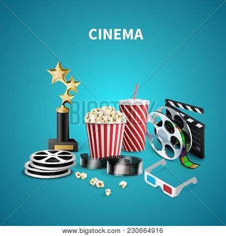 Blue Cinema Background With Trophy Clapboard Popcorn 3d Glasses Film Strip And Reels Realistic Vecto