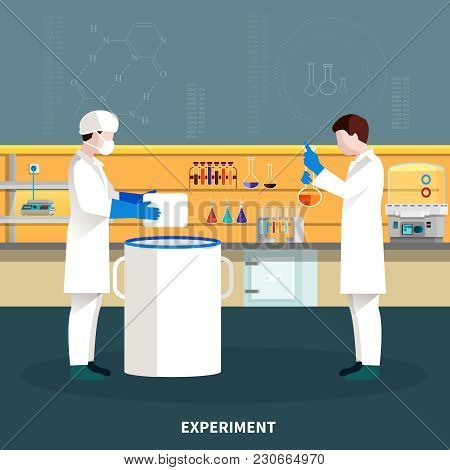 Two Colored Flat Scientists People Composition Conducting An Experiment In A Lab Vector Illustration