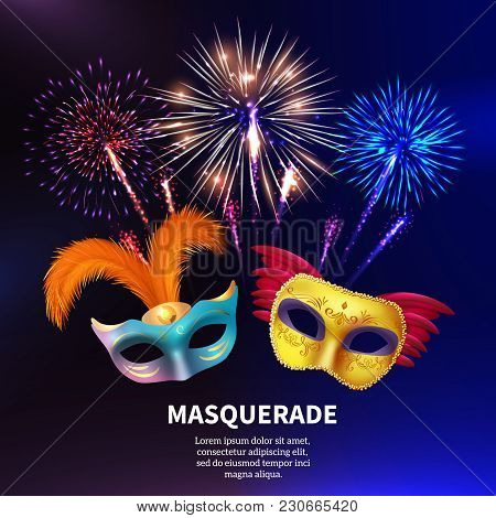 Fireworks Background Composition With Editable Text And Realistic Images Of Two Colourful Carnival M