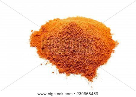 Red Ground Paprika Isolated On White Background, Shallow Depth Of Field, Top View, Close-up, Macro,