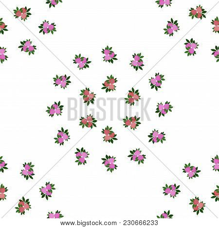 Bedding With A Pattern Of Flowering. Seamless Background With Red, Green And Pink Flowers. Veil Vect