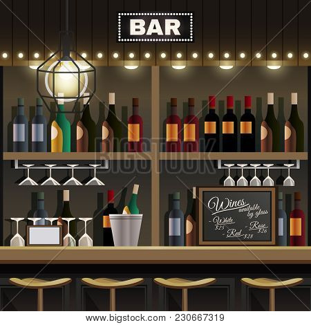 Cafe Restaurant Pub Bar Realistic Interior Detail With Wine Liquor Bottles Display Shelves And Count