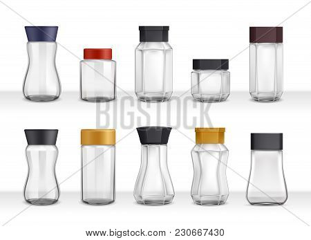 Instant Coffee 10 Empty Realistic Various Shape Glass And Plastic Jars Packaging Collection 3d Isola