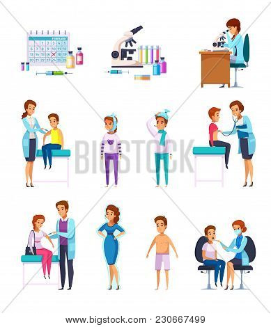 Vaccination Immunity Cartoon Set Of Flat Isolated Human Characters With Patient Kids And Adult Docto