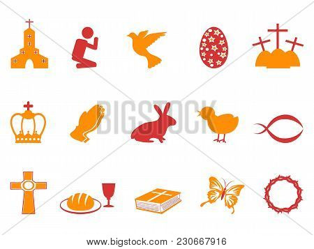 Isolated Orange And Red Color Easter Day Icons Set From White Background