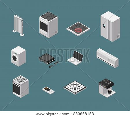 Isometric 3d Household Kitchen Appliance And Electrical Equipment Isolated Vector Set. Illustration