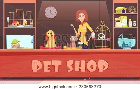 Pet Shop Interior With Woman Seller, Home Animals, Shelves With Accessories, Feeds And Medicines Vec