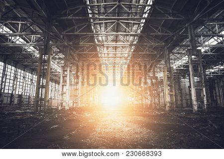 Abandoned Ruined Industrial Factory Building, Corridor View With Perspective And Sunlight, Ruins And