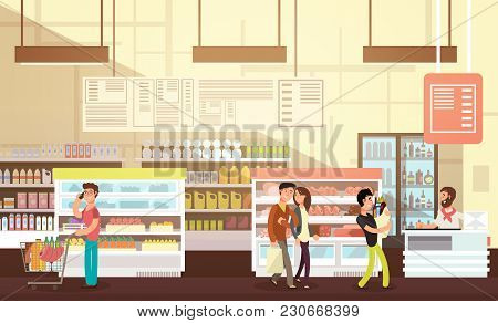 People Shopping In Grocery Store. Supermarket Retail Interior With Customers Flat Vector Illustratio