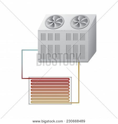 Outdoor And Indoor Unit Chiller. The Evaporator And Condenser. Vector Illustration.