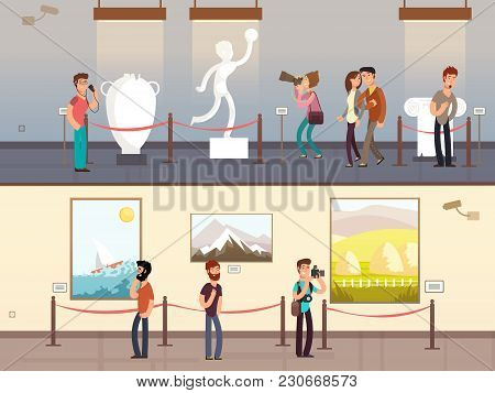Museum Interiors With Visitors Looking At Exhibits Vector Illustration. Gallery Tour And Culture Mus