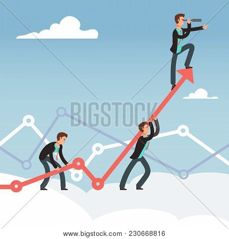 Corporate Works And Team Effort For Business Growth Vector Concept. Effort Business And Achievement,