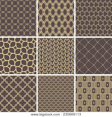 Set Of Vector Seamless Geometric Golden Patterns For Your Designs And Backgrpounds. Geometric Abstra