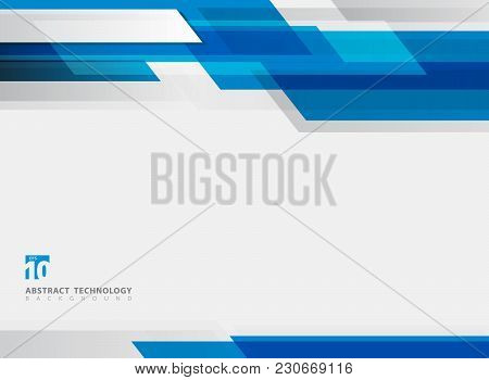 Abstract Technology Geometric Blue Color Shiny Motion Background. Template With Header And Footer Fo