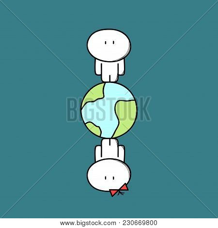 Cute Man And Woman Are Apart On The Planet Earth In Space. Search Or Look For Love, Long Distance Re