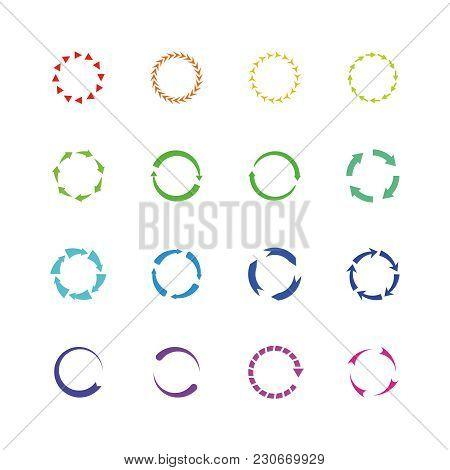 Color Circle Reload Arrows Vector Icons. Round Arrow Elements. Arrow Reload And Refresh Loop Illustr