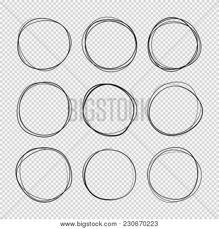 Doodle Sketched Circles. Hand Drawn Scribble Rings Isolated Vector Set. Doodle Circle Ring Scribble