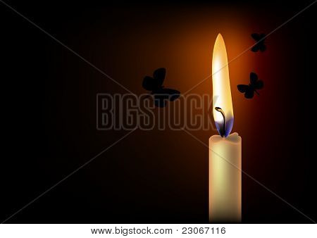 Realistic candle flame and flying moths at midnight