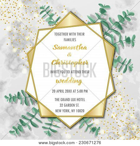 Wedding Glamorous Invitation Floral Card With Gold Geometric Frame And Eucalyptus On Marble Backgrou