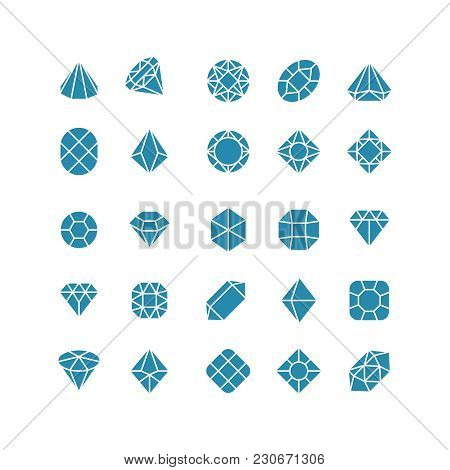 Diamond Abstract Icons. Expensive Jewelry Vector Symbols. Jewelry And Expensive Diamond, Crystal Pre