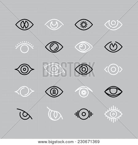 Human Eye Line Icons. Eyesight Vector Outline Pictograms. Eye And Eyesight, Eyeball Optical Illustra