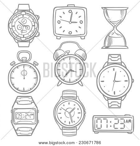 Hand Drawn Wristwatch, Doodle Sketch Watches, Alarm Clocks And Timepiece Vector Set. Illustration Of