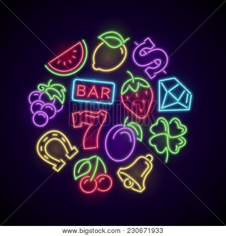 Gambling Casino Games Neon Logo With Slot Machine Bright Icons. Illustration Of Casino And Poker, Lu